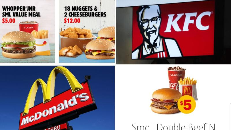 In clockwise order from top left, Hungry Jack's deals, a KFC sign, a McDonald's deal and a McDonald's sign.