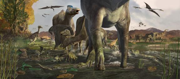 Artist's conception of how the trace fossils were formed roughly 70 million years ago.