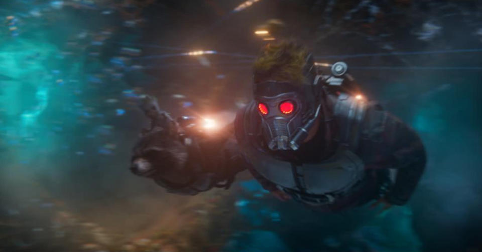 <p>Peter Quill, in full costume, soars through space. (Photo: Marvel) </p>