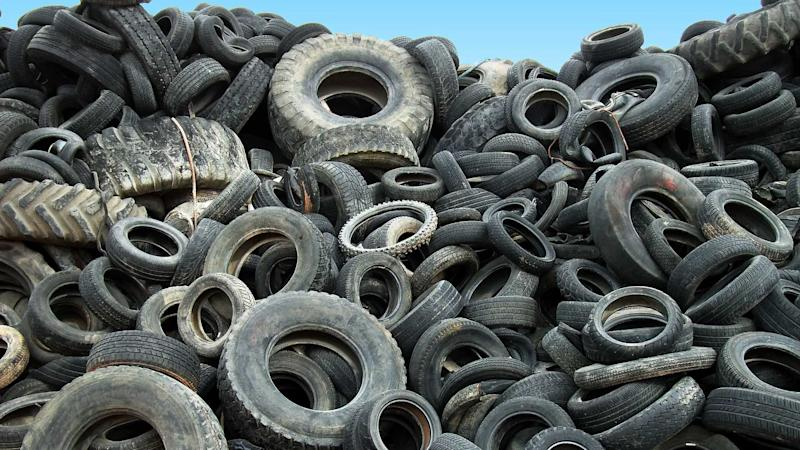 Pile of tyres dumped in a landfill