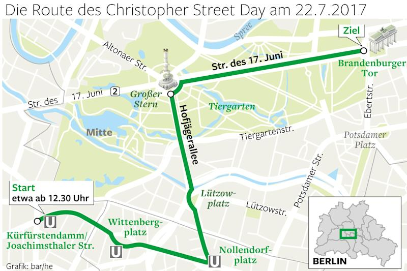 Christopher Street Day : Das ist die Route des Christopher Street Day in Berlin