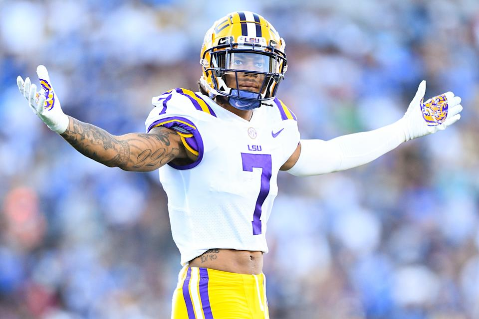 LSU CB Derek Stingley Jr. could be the first cornerback selected in the 2022 NFL draft. (Photo by Brian Rothmuller/Icon Sportswire via Getty Images)