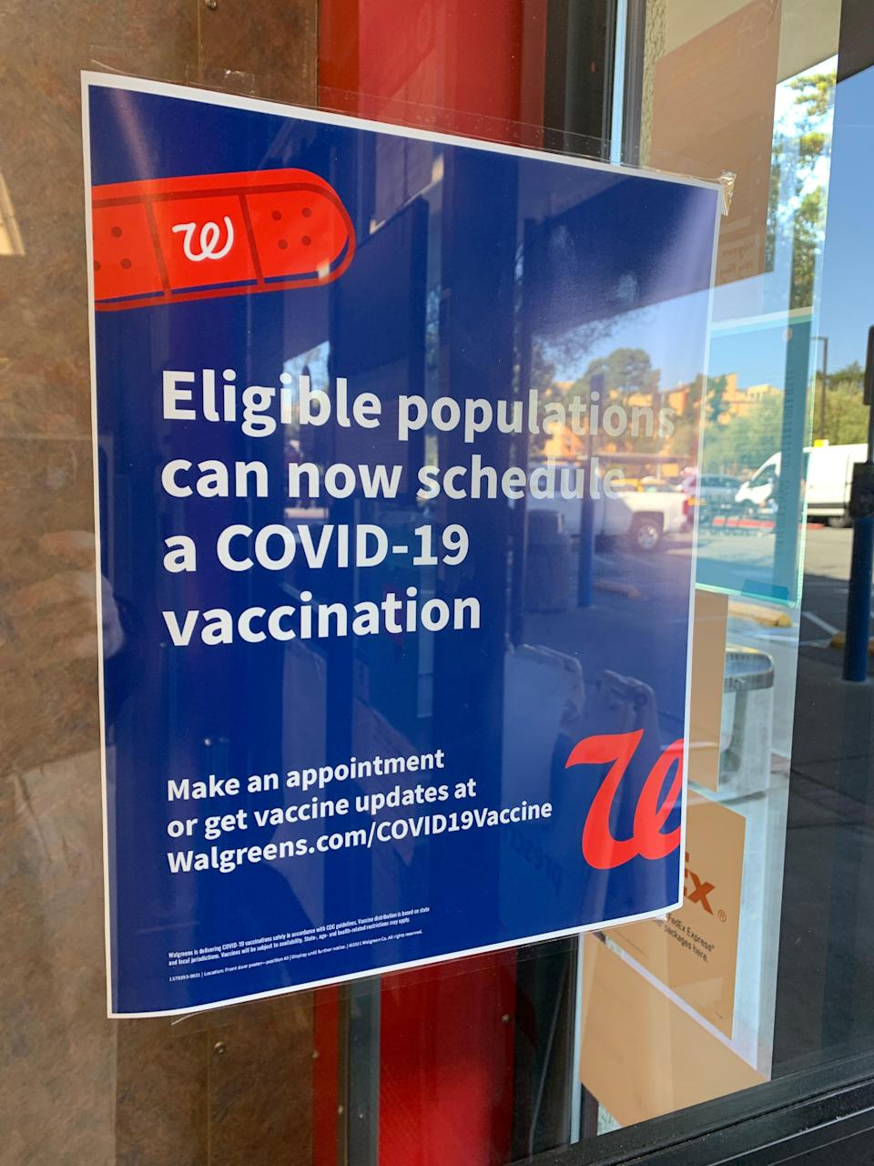 A sign at a Walgreens pharmacy in San Francisco telling people COVID-19 vaccination appointments are now available. March 4, 2021