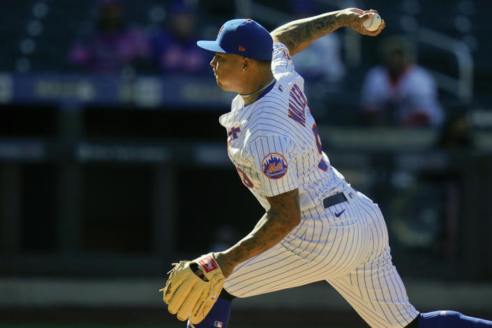 New York Mets' Taijuan Walker delivers a pitch during the first inning of a baseball game against the Philadelphia Phillies in the first game of a doubleheader Tuesday, April 13, 2021, in New York. (AP Photo/Frank Franklin II)