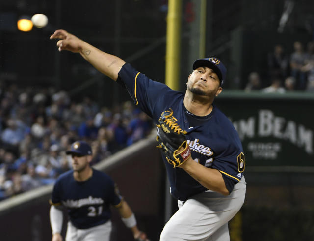 Milwaukee Brewers starting pitcher Jhoulys Chacin (45) throws the ball against the Chicago Cubs during the first inning of a baseball game, Tuesday, Sept. 11, 2018, in Chicago. (AP Photo/David Banks)