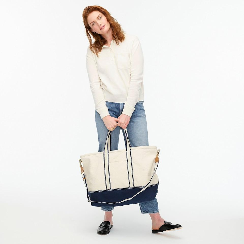 """<h2>J.Crew Weekender Montauk Tote</h2><br>J.Crew's tote is appropriately weekender-sized, crafted from a durable-yet-soft cotton canvas, and has just the right amount of laid-back-beachy style. The travel-friendly bag also comes equipped with a zippered top, an inner storage pocket, and a detachable woven strap shoulder strap. As one pleased reviewer puts it, this is a """"Very nicely made bag. Perfect for the weekend with inside pockets and a long removable shoulder strap. I've even put my dog in it."""".<br><br><em>Shop <strong><a href=""""https://www.jcrew.com/plp/womens/categories/accessories/bags"""" rel=""""nofollow noopener"""" target=""""_blank"""" data-ylk=""""slk:J.Crew"""" class=""""link rapid-noclick-resp"""">J.Crew</a></strong></em><br><br><strong>J.Crew</strong> Weekender Montauk tote, $, available at <a href=""""https://go.skimresources.com/?id=30283X879131&url=https%3A%2F%2Fwww.jcrew.com%2Fp%2Fgirls%2Fcategories%2Faccessories%2Fbags%2Fweekender-montauk-tote%2FAV807"""" rel=""""nofollow noopener"""" target=""""_blank"""" data-ylk=""""slk:J.Crew"""" class=""""link rapid-noclick-resp"""">J.Crew</a>"""