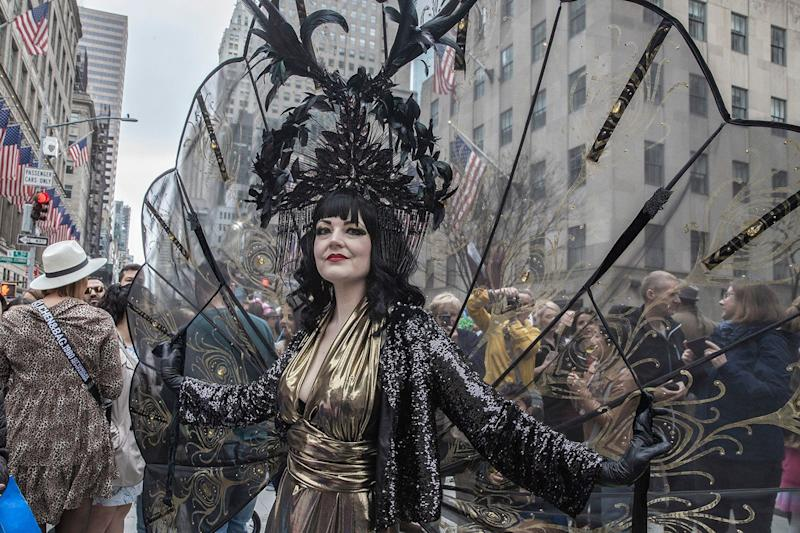 Veritiee Hill of New York City shows off her costume at the Easter Parade and Bonnet Festival, Sunday, April 21, 2019, in New York City. (Photo: Gordon Donovan/Yahoo News)