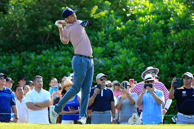 """<div class=""""caption""""> Brendon Todd hits his dive on the seventh hole during the final round of the 2019 Mayakoba Golf Classic. </div> <cite class=""""credit"""">Cliff Hawkins/Getty Images</cite>"""