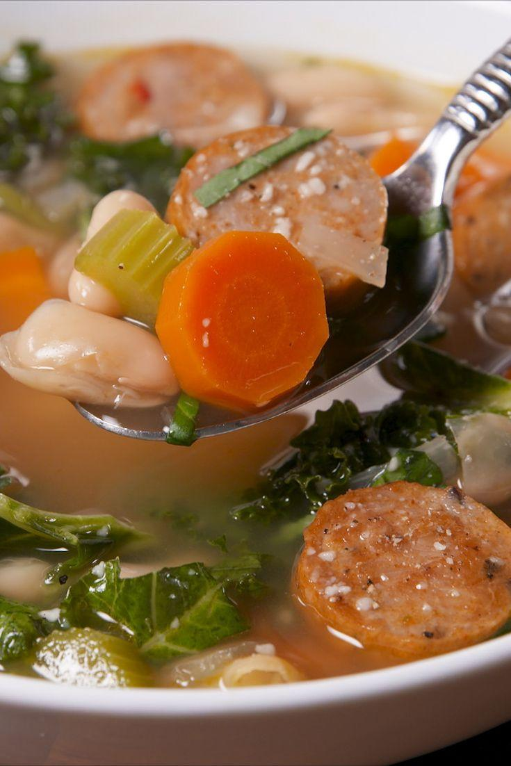"""<p>Beat those winter blues.</p><p>Get the recipe from <a href=""""https://www.delish.com/cooking/recipe-ideas/recipes/a58390/slow-cooker-sausage-and-white-bean-soup-recipe/"""" rel=""""nofollow noopener"""" target=""""_blank"""" data-ylk=""""slk:Delish"""" class=""""link rapid-noclick-resp"""">Delish</a>. </p>"""