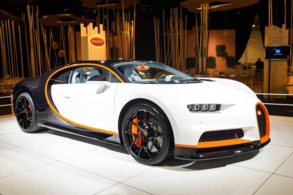 """<p>The Chiron comes in four different models (the Sport, Pur Sport, Sport 110 Ans, and the Super Sport 300+) and starts at a cool $3 million. Bugatti designed this luxe beast to be a speed demon by outfitting it with """"intelligent air intake management to improve aerodynamics"""" in addition to helping enhance """"the cooling efficiency for engine and brakes."""" Translation: it goes <em>fast</em>—250+ mph fast.</p>"""