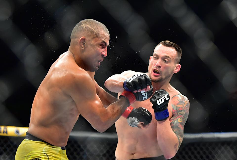 Nov 16, 2019; Sao Paolo, BRAZIL; Sergio Moraes (red gloves) fights James Krause (blue gloves) during UFC Fight Night at Ginsasio do Ibirapuera. Mandatory Credit: Jason Da Silva-USA TODAY Sportsh