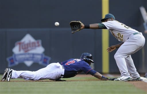 Oakland Athletics' Chris Carter, right, awaits the throw as Minnesota Twins' Denard Span dives safely back to first on a pick-off attempt in the first inning of a baseball game Friday, July 13, 2012, in Minneapolis. (AP Photo/Jim Mone)