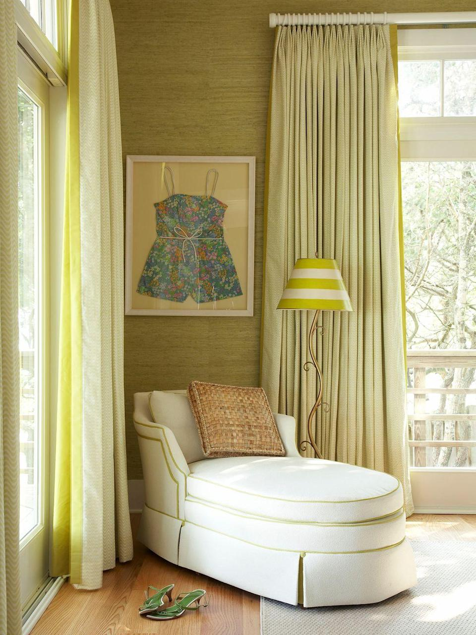 <p>Sometimes, all it takes is an unexpected color palette to breathe life into a space. Here, chartreuse in varied tones pulls this reading nook together. </p>