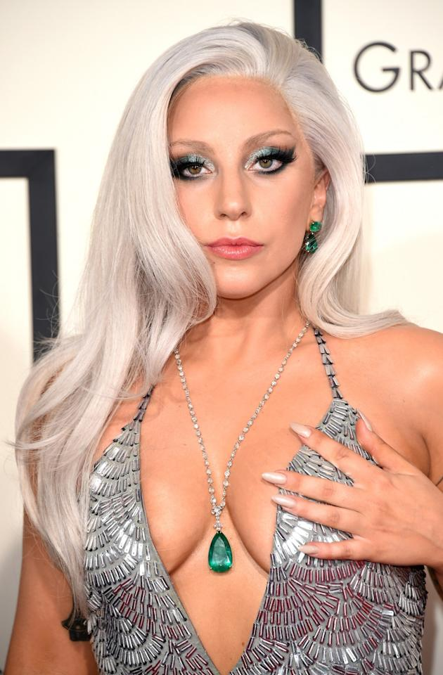 <p>Lady Gaga's silvery locks made their debut at the 2015 Grammys. <i>[Photo: Getty]</i> </p>
