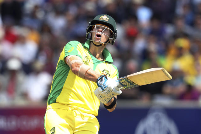 Australia's Steve Smith plays a shot during the Cricket World Cup match between Australia and West Indies at Trent Bridge in Nottingham, Thursday, June 6, 2019. (AP Photo/Rui Vieira)
