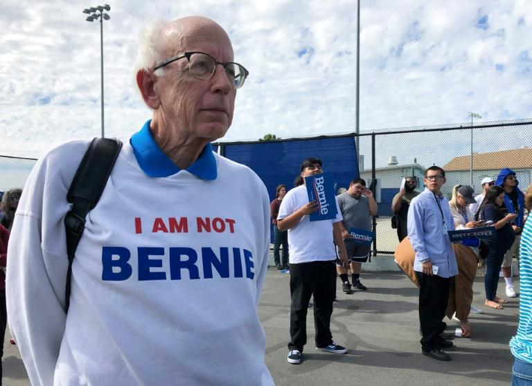 Bernie Sanders look-alike Jeff Jones attends a Sanders rally in Santa Ana, California, on February 21