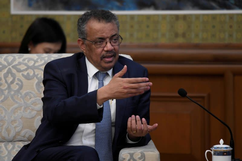 FILE PHOTO: Tedros Adhanom, director general of the World Health Organization, speaks during a meeting with Chinese Foreign Minister Wang Yi at the Diaoyutai State Guesthouse in Beijing