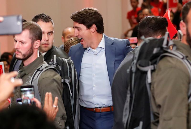 Liberal leader and Canadian Prime Minister Justin Trudeau attends a rally on Saturday evening: REUTERS