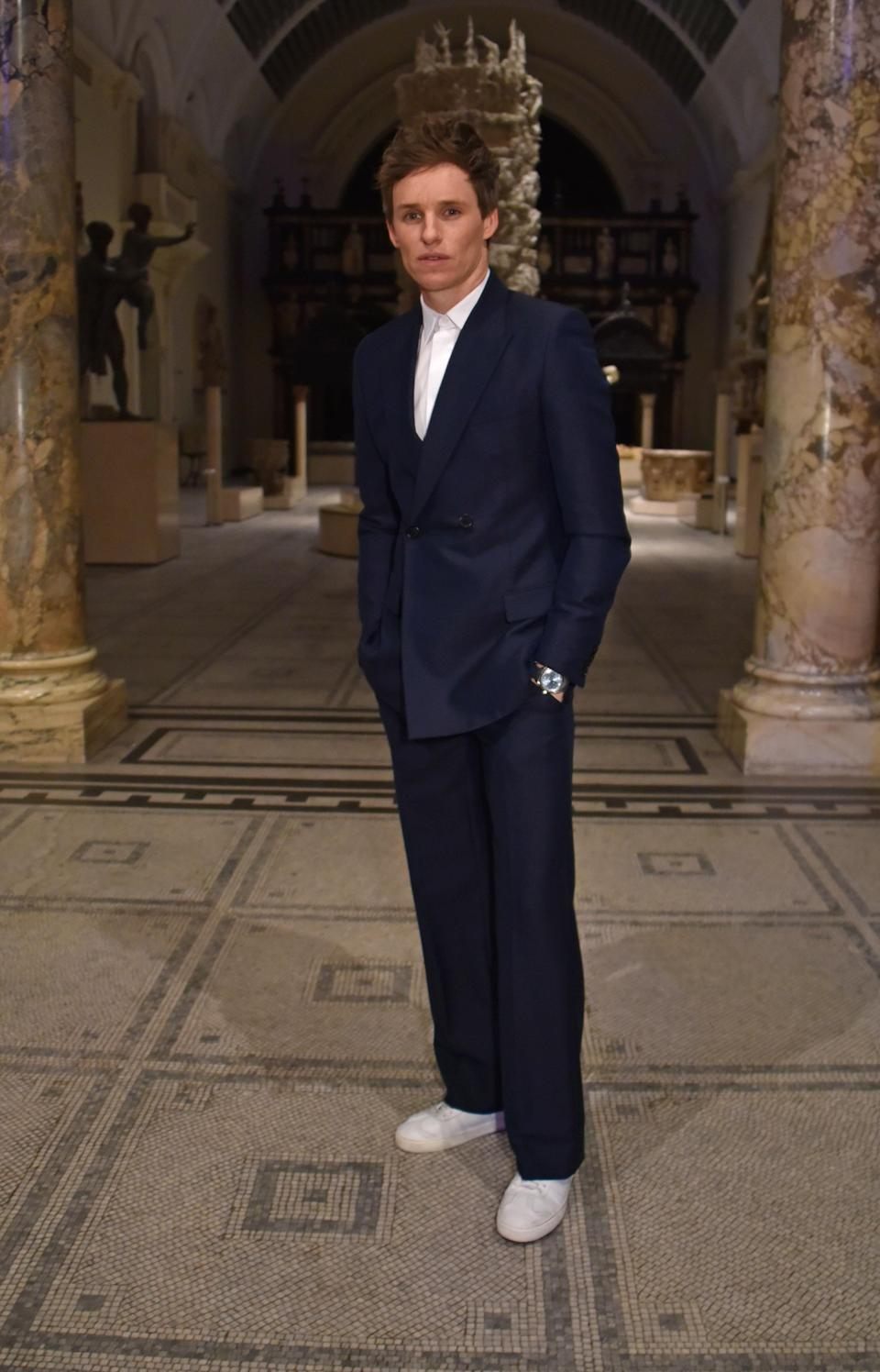 <p>Look no further than Eddie Redmayne for workwear inspo this season, as the actor successfully pulled off the suit and trainers look. <em>[Photo: Getty]</em> </p>