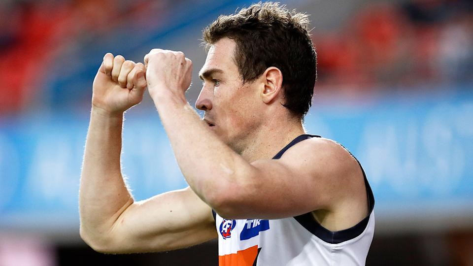 Jeremy Cameron is seen here celebrating during an AFL match for GWS.