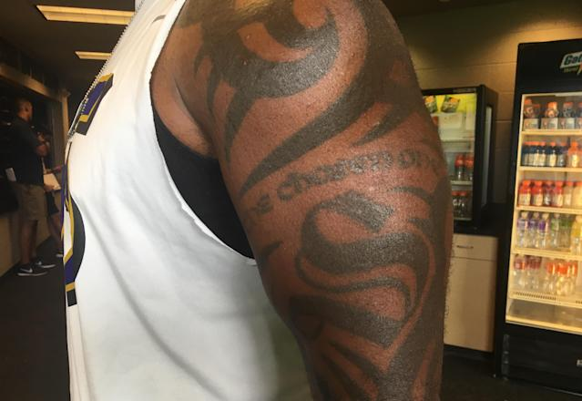 """<p>Terrell Suggs, LB, Baltimore. """"I got this S for Suggs when I was 19. My mom let me get it. I have to ask my mom for permission for all my ink. Every single one. She don't like me marking up my body. She don't, because that's not how she had her babies. Then I got the tribal design around it in 2008. I put the """"Chosen One"""" on there because I come from a family of athletes, but I was the only one to ever make it professionally."""" </p>"""