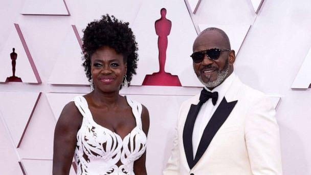 PHOTO: Viola Davis and Julius Tennon arrive to the 93rd Academy Awards, at Union Station, in Los Angeles, April 25, 2021. (Pool/Reuters)