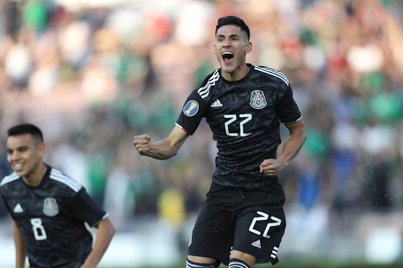 PASADENA, CA - JUNE 15: Uriel Antuna #22 of Mexico celebrates after scoring his team's first goal during a CONCACAF Gold Cup Group A match between Mexico and Cuba at Rose Bowl on June 15, 2019 in Pasadena, California. (Photo by Omar Vega/Getty Images)