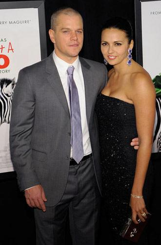 Matt Damon and wife at the New York premiere of We Bought a Zoo on December 12, 2011. Photo by Ilya S. Savenok, Film Magic