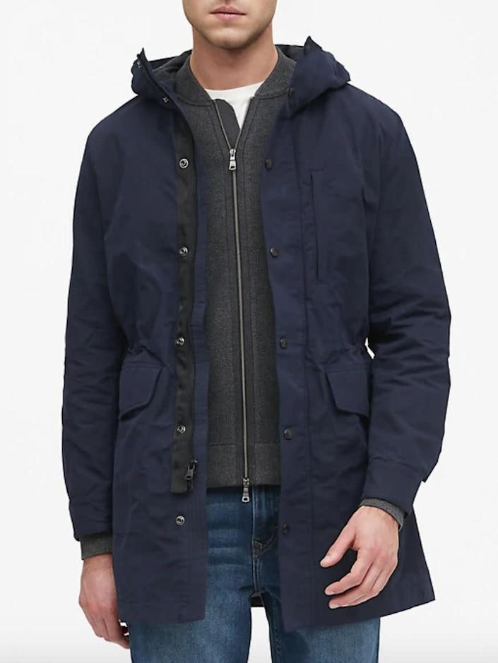 """This jacket comes in sizes M to XXL. <strong><a href=""""https://fave.co/30xMXKV"""" rel=""""nofollow noopener"""" target=""""_blank"""" data-ylk=""""slk:Find it at Banana Republic"""" class=""""link rapid-noclick-resp"""">Find it at Banana Republic</a></strong>.&nbsp;"""
