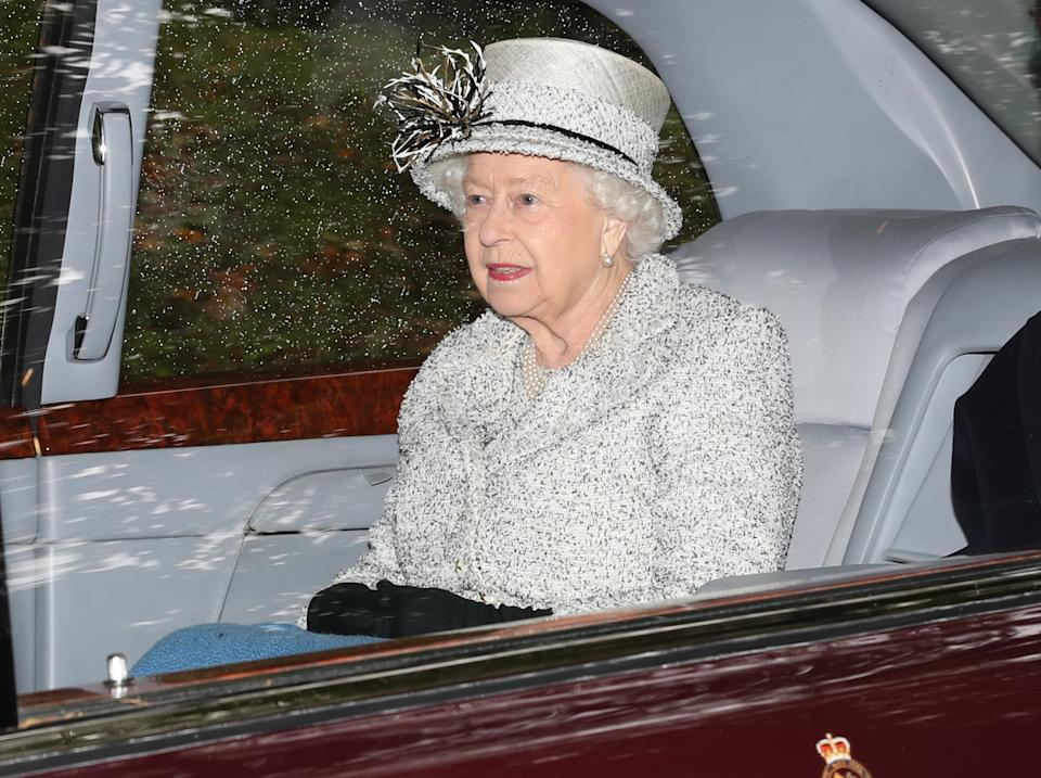 Queen Elizabeth II leaving Crathie Kirk after attending a Sunday church service near Balmoral where she is currently in residence.