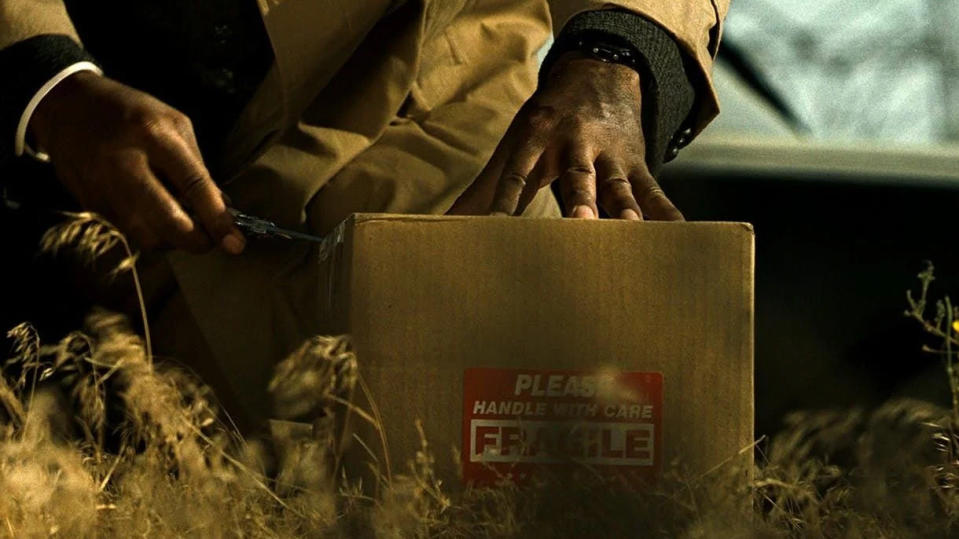 The 'what's in the box?' scene is one of the most memorable moments in 'Seven'. (Credit: New Line Cinema)