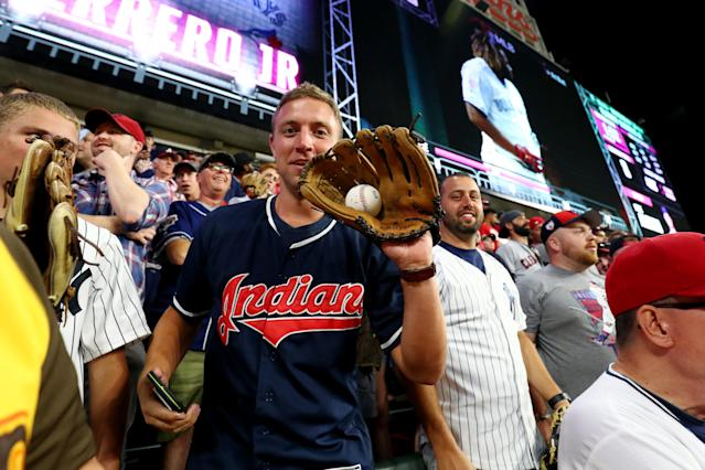 A fan reacts to catching a home run ball during the T-Mobile Home Run Derby at Progressive Field on Monday, July 8, 2019 in Cleveland, Ohio. (Photo by Adam Glanzman/MLB Photos via Getty Images)