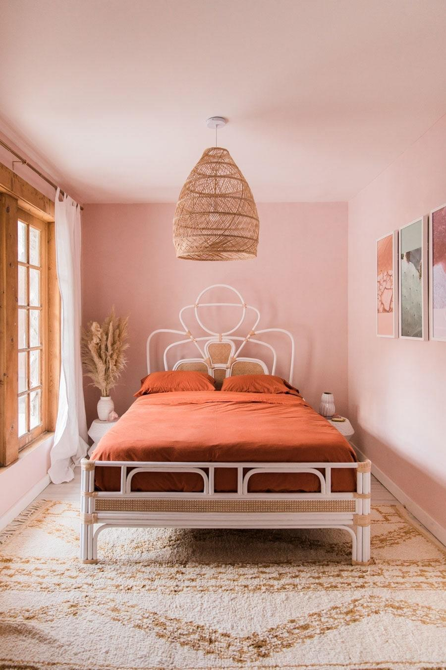 The bedroom in Caroline Lee's hideaway on the outskirts of Palm Springs.