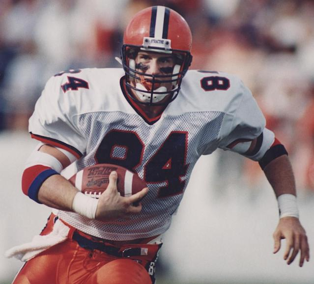 Chris Gedney made Syracuse's all-century team and was the school's color commentator for football games the past 11 seasons. (Photo courtesy of Syracuse University)