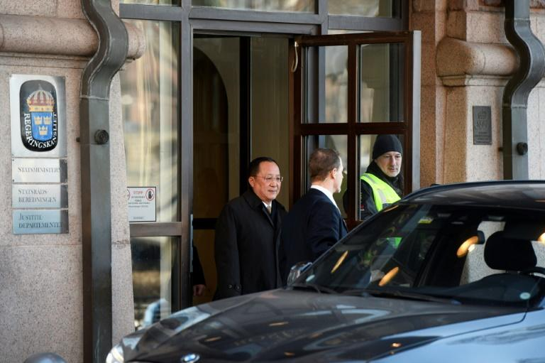 North Korean Foreign Minister Ri Yong Ho (L) leaves the Swedish goverment building Rosenbad in central Stockholm, where he was to remain for further talks with Swedish leaders aiming for a US-North Korea summit