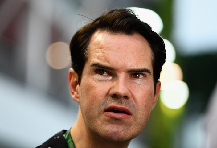 British comedian Jimmy Carr looks on in the Paddock before the Formula One Grand Prix of Singapore at Marina Bay Street Circuit on September 16, 2018 in Singapore. (Photo by Clive Mason/Getty Images)