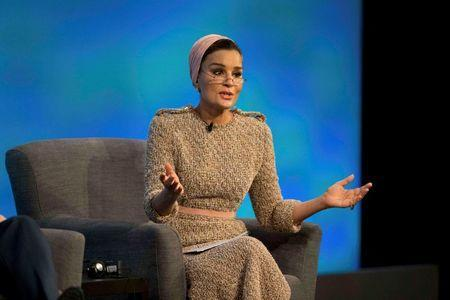 Qatar's Sheikha Moza bint Nasser speaks during the first focus event on education at the donors Conference for Syria in London, Britain February 4, 2016. REUTERS/Matt Dunham/pool