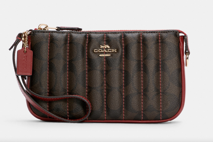 coach outlet red and brown Nolita 19 in Signature Canvas with Quilting