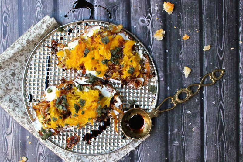 """<p>Smear a toasted crostini with creamy, fresh ricotta, sweet caramelized onions, slow-roasted pumpkin, and sage. Finish with a drizzle of balsamic reduction for a bruschetta with unique ingredients nothing shy of amazing. </p><p><strong>Get the recipe at <a href=""""http://sheeats.ca/2014/09/pumpkin-bruschetta-creamy-ricotta-caramelized-onions/"""" rel=""""nofollow noopener"""" target=""""_blank"""" data-ylk=""""slk:She Eats"""" class=""""link rapid-noclick-resp"""">She Eats</a>.</strong></p>"""