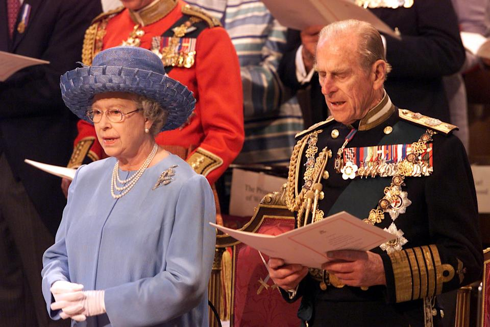 The Queen Elizabeth II and Duke of Edinburgh at St Paul's Cathedral during a service of Thanksgiving to celebrate The Queen's Golden Jubilee. She and her husband, the Duke of Edinburgh, had travelled from Buckingham Palace in the Gold State Coach.  * ... first built for King George III in 1762. Later, after lunch at Guildhall in the City of London, she will watch a parade and carnival along The Mall.  Monday night saw more than one million people gather in central London to hear the Party in the Palace concert, and to watch a spectacular firework display.   (Photo by Andrew Parsons - PA Images/PA Images via Getty Images)