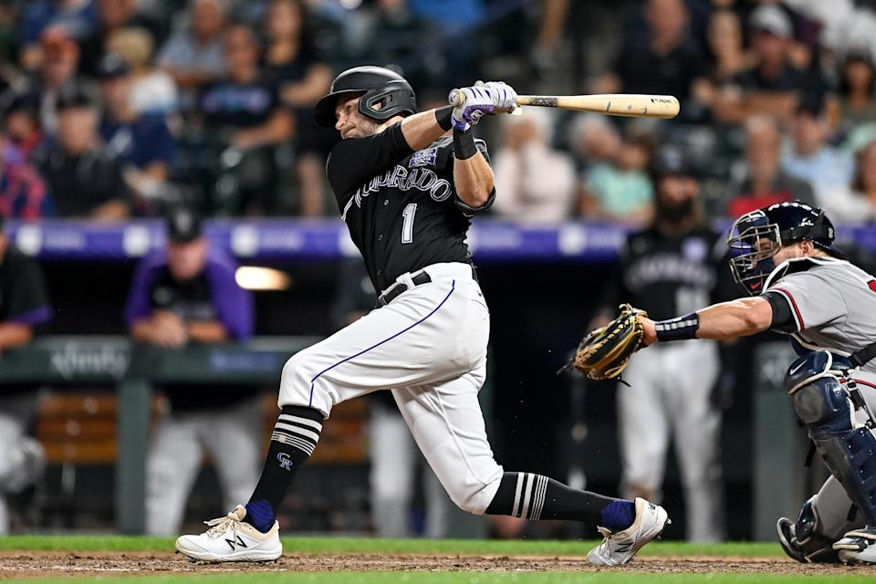 DENVER, CO - SEPTEMBER 4: Colorado Rockies second baseman Garrett Hampson (1) hits a sixth inning RBI triple during a game between the Colorado Rockies and the Atlanta Braves at Coors Field in Denver, Colorado on September 4, 2021. (Photo by Dustin Bradford/Icon Sportswire via Getty Images)