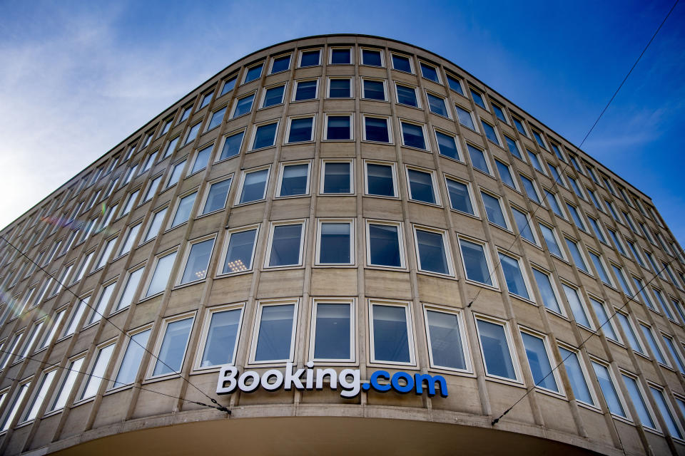 AMSTERDAM, NETHERLANDS - 2020/09/07: Headquarters of Booking.com in Amsterdam. Amsterdam headquarters of Booking.com will lay off up to a quarter of its employees to face the coronavirus crisis. The CEO of the booking site Glenn Fogel reported this to his staff on Tuesday morning. A spokesperson says that there will also be redundancies in the Netherlands. (Photo by Robin Utrecht/SOPA Images/LightRocket via Getty Images)