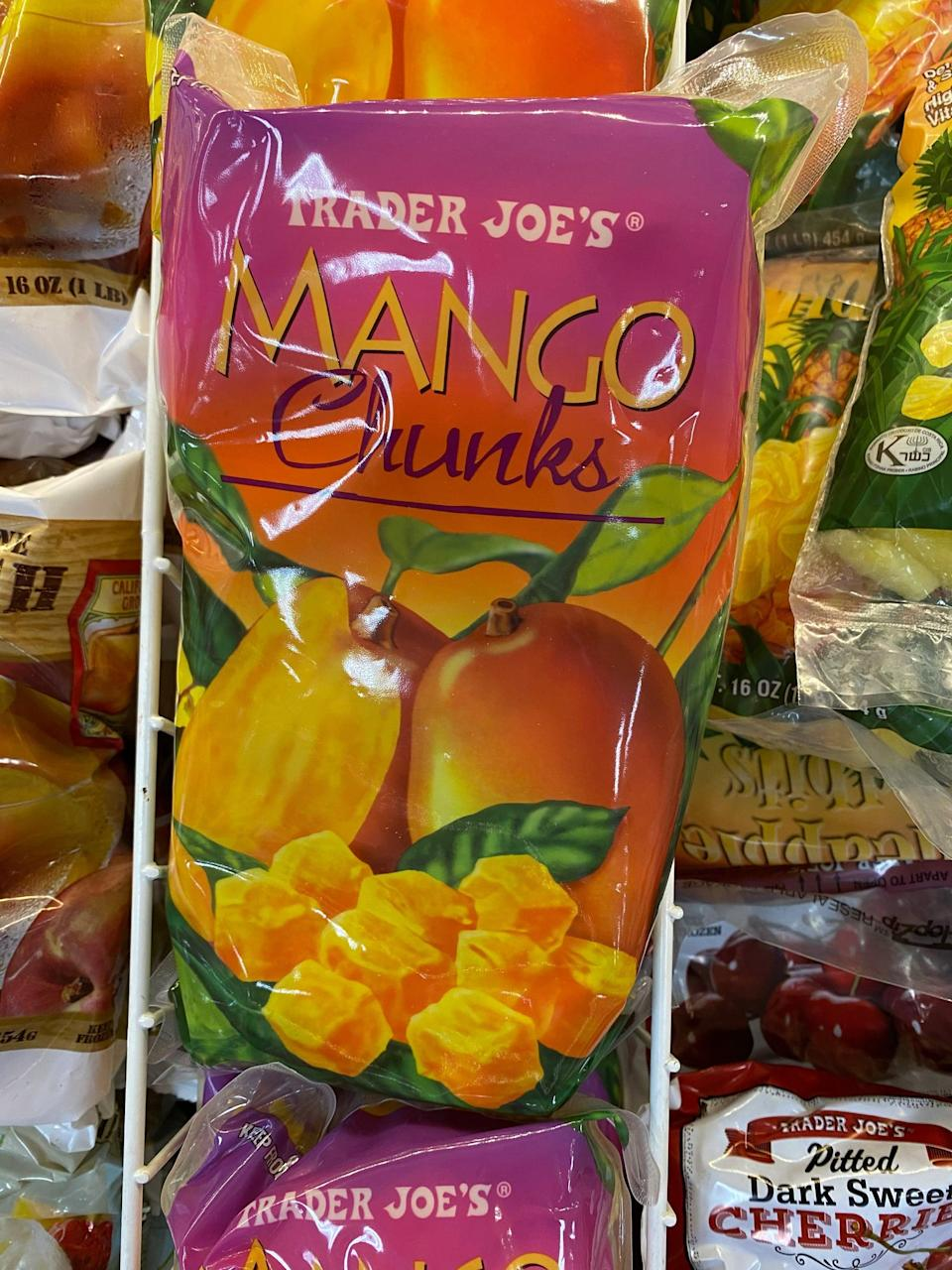 """<p>I buy many of Trader Joe's frozen fruits such as blueberries, strawberries, and strawberries to add to oatmeal and homemade muffins, but this frozen mango is my fave. I use it to make <a href=""""https://www.popsugar.com/fitness/Vegan-Mango-Ice-Cream-30689665"""" class=""""link rapid-noclick-resp"""" rel=""""nofollow noopener"""" target=""""_blank"""" data-ylk=""""slk:frozen fruit &quot;nice cream,&quot;"""">frozen fruit """"nice cream,""""</a> and it's especially delicious and creamy when I add frozen banana and frozen cherries. It's just fruit, so it's a healthier, added-sugar-free alternative to ice cream.</p>"""