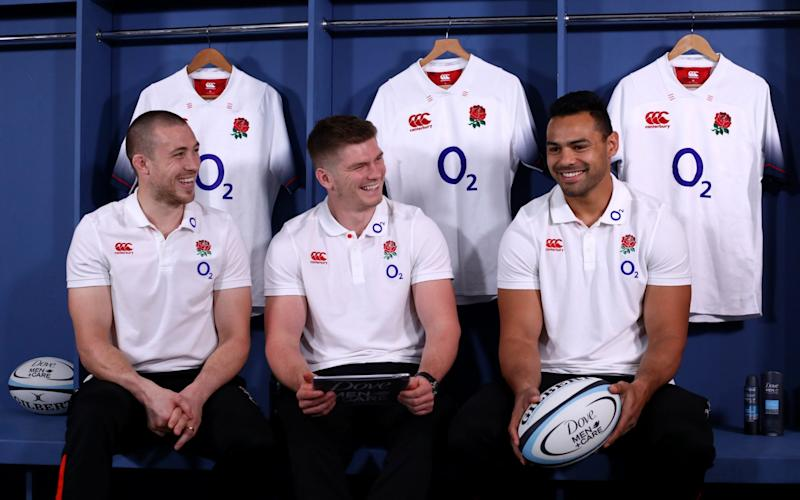 England's Mike Brown, Owen Farrell and Ben Te'o during Dove Men+Care England Rugby Player Appearance at Pennyhill Park - GETTY IMAGES