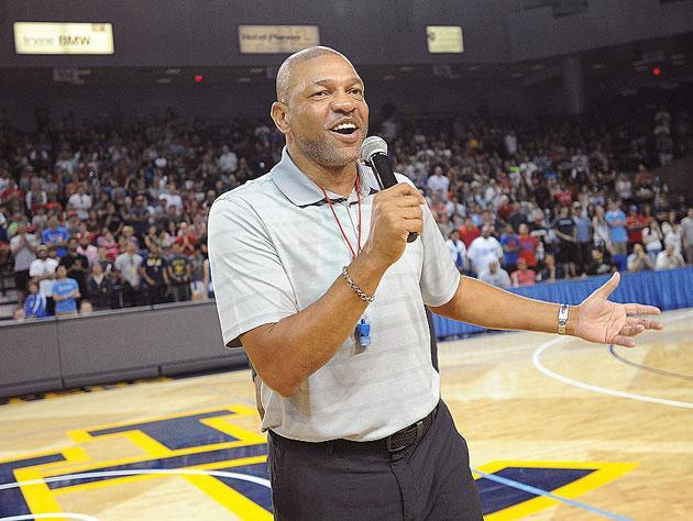 Doc Rivers takes the mic. (Getty Images)