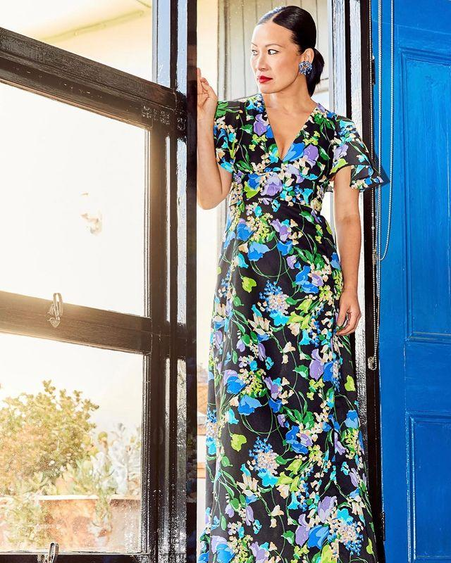 MasterChef star Poh Ling Yeow in a black and blue floral dress in her Adelaide home for a photoshoot by photographer Henry Trumble