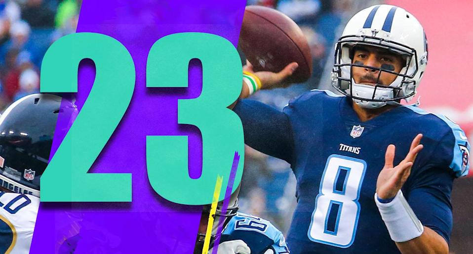 <p>The Jameis Winston saga is a reminder that Marcus Mariota, who went one draft pick after Winston, is on the clock too. He doesn't have the off-field issues of Winston, but he does have the on-field ups and downs and a $20.9 million non-guaranteed salary in 2019. (Marcus Mariota) </p>
