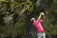 Louis Oosthuizen, of South Africa, watches his tee shot on the third hole during a practice round at the PGA Championship golf tournament on the Ocean Course Tuesday, May 18, 2021, in Kiawah Island, S.C. (AP Photo/David J. Phillip)