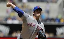New York Mets starting pitcher Matt Harvey throws against the San Diego Padres in the first inning of a baseball game, Sunday, Aug. 18, 2013, in San Diego. (AP Photo/Lenny Ignelzi)