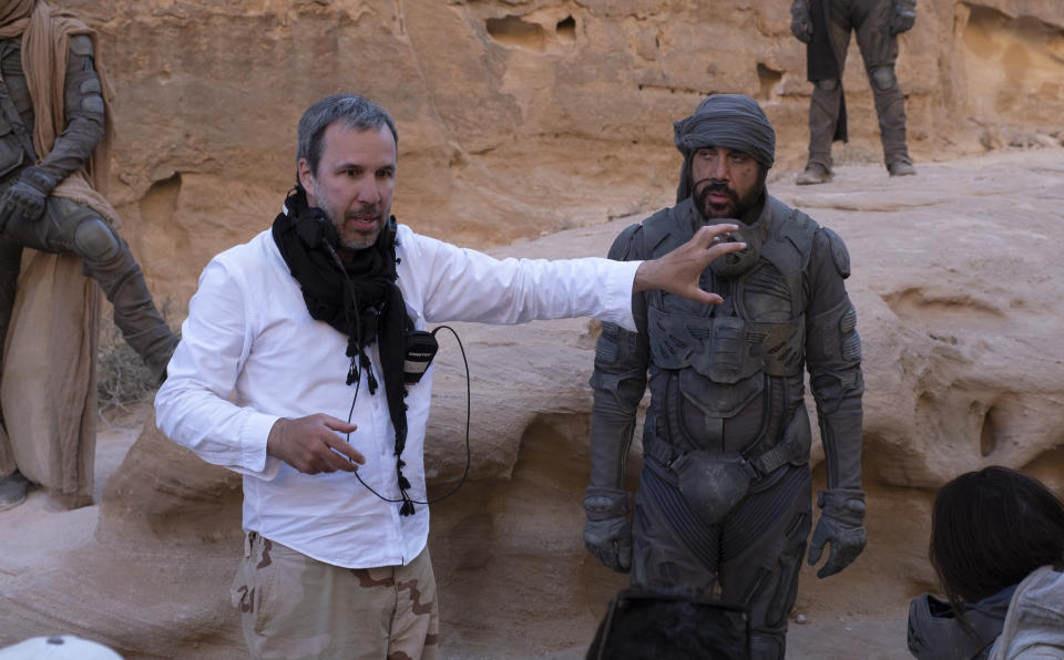 Denis Villeneuve and Javier Bardem on the set of 'Dune'. (Courtesy of Warner Bros Pictures)